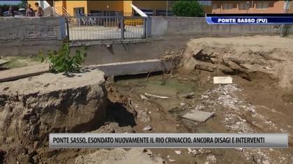 Ponte Sasso, esondato il Rio Crinaccio. Ancora disagi e interventi – VIDEO
