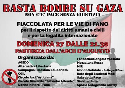 """Domenica 27 a Fano fiaccolata per dire """"Basta bombe su Gaza"""""""