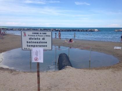 Fano, divieto temporaneo di balneazione solo vicino agli scolmatori