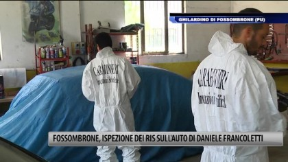 Fossombrone, ispezione del Ris sull'auto di Daniele Francoletti – VIDEO
