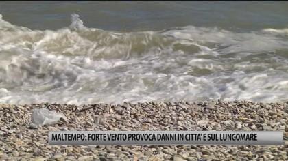 Maltempo: forte vento provoca danni in città e sul lungomare – VIDEO