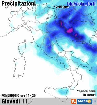 Maltempo: forti piogge domani sulle Marche