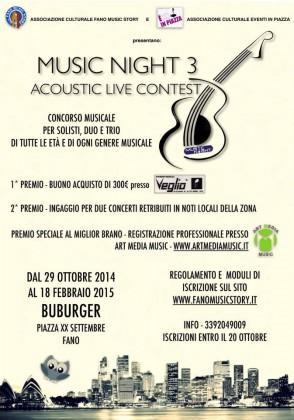 """""""Music Night 3"""": dal 29 ottobre il concorso dedicato a solisti, duo e trio"""