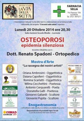 """""""Osteoporosi epidemia silenziosa"""": il 20 ottobre l'incontro organizzato da """"La Via della Seta"""""""