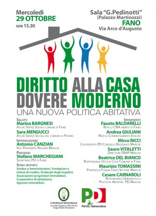 """""""Diritto alla casa dovere moderno"""", con il PD a Fano si parla di politiche abitative"""