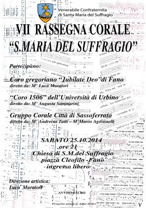 VII edizione della Rassegna Corale: il 25 ottobre alla Confraternita del Suffragio