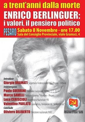 """Convegno pubblico a Pesaro sul tema: """"Enrico Berlinguer, i valori e il pensiero politico"""""""