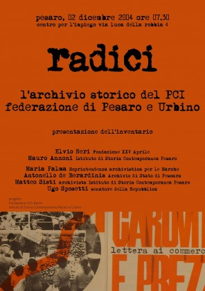 Radici, presentazione dell'archivio storico del PCI