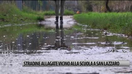 Stradine allagate vicino alla scuola a San Lazzaro – VIDEO