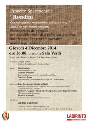 """Presentazione del """"Progetto Rondini"""", il 4 dicembre nella Sala Verdi del Teatro della Fortuna"""