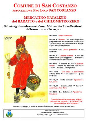 San Costanzo, sabato 13 dicembre la Sesta edizione de Mercatino Natalizio