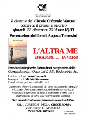 """""""L'ALTRA ME. BAGLIORI… IN VERSI"""": presentazione del libro di poesie al Circolo Cultura Marotta"""