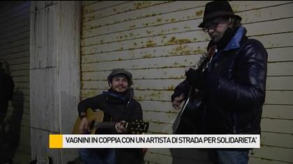 Vagnini in coppia con un artista di strada per solidarietà – VIDEO