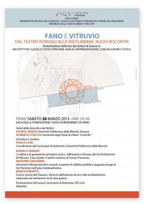 """""""Fano e Vitruvio. Dal teatro romano alla via Flaminia, nuovi riscontri"""", sabato l'incontro"""