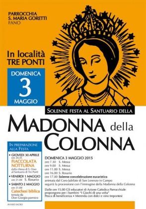 Festa della Madonna della Colonna a Tre Ponti. Ecco il programma