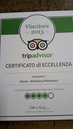 TripAdvisor certifica l'eccellenza della Memo-Mediateca Montanari