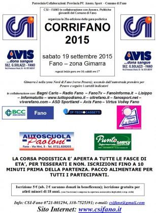 Corsa podistica CorriFano, sabato 19 settembre la 20esima edizione