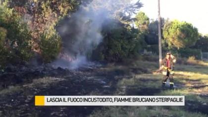 Lascia il fuoco incustodito, fiamme bruciano sterpaglie – FOTO – VIDEO
