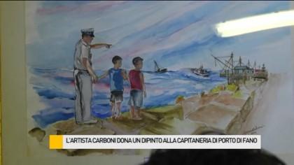 L'artista Carboni dona un dipinto alla Capitaneria di porto di Fano – VIDEO