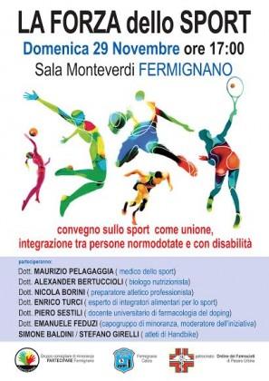 """""""La Forza dello Sport"""", domenica una conferenza a Fermignano"""