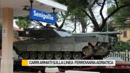 Sfilata di carri armati sulla linea ferroviaria adriatica – VIDEO
