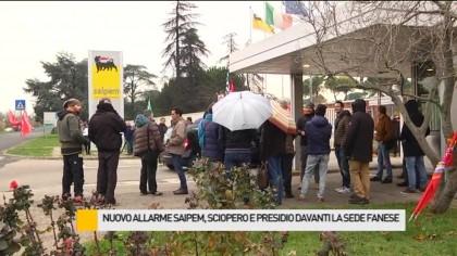 Sciopero di due ore e presidio davanti la sede fanese della Saipem – VIDEO