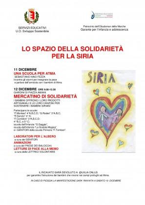 """Sabato si svolgerà a Fano il """"Mercato di Solidarietà"""" per sostenere i bambini siriani"""