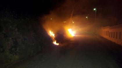 Getta mozzicone acceso in strada. A fuoco sterpaglie