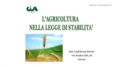 Cia,l' agricoltura nella legge di stabilità