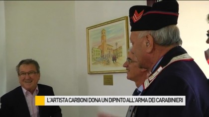 L'artista Carboni dona un dipinto all'Arma dei Carabinieri – VIDEO