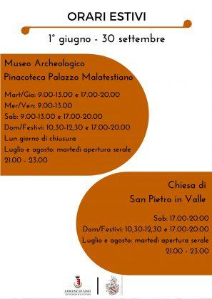 Musei a Fano, nuovo Orario dal 1° giugno al 30 settembre