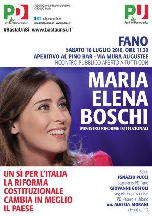 Sabato 16 il ministro Maria Elena Boschi sarà a Fano
