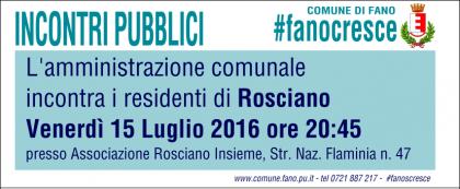 Il Comune incontra venerdì i residenti del quartiere Rosciano