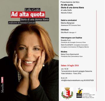 """Lella Golfo presenta a Fano il suo libro """"Ad alta quota"""""""