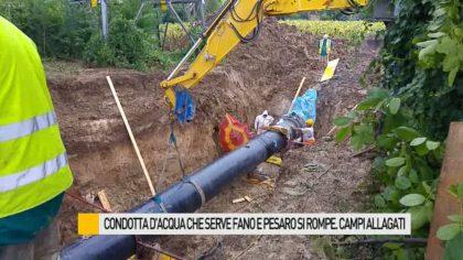 Acquedotto che serve Fano e Pesaro si rompe. Campi allagati – VIDEO