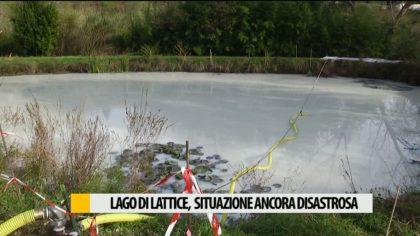 Lattice liquido, a tre settimane dall'incidente proseguono i lavori di bonifica. Laghetto ancora bianco – VIDEO