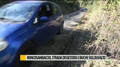 Roncosambaccio, strada dissestata e buche sull'asfalto – VIDEO
