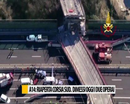 A14: riaperta corsia sud. Dimessi i due operai – VIDEO
