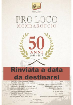 50° Proloco Mombaroccio, festeggiamenti rinviati