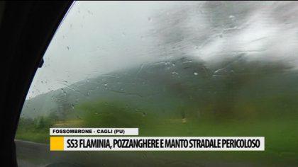 SS3 Flaminia, pozzanghere e manto stradale pericoloso