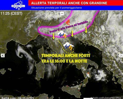 Situazione meteo, temporali in arrivo tra il pomeriggio e la sera