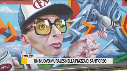 Un Nuovo murales nella piazza di Sant'Orso – VIDEO