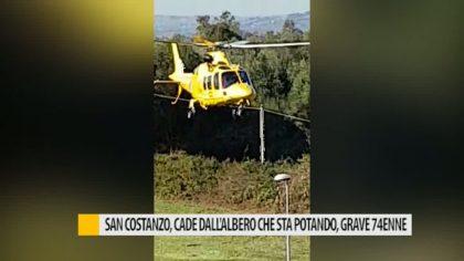 San Costanzo: cade dall'albero che sta potando, grave 74enne – VIDEO