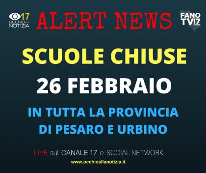 Scuole chiuse a Fano, Pesaro e nel resto della provincia di Pesaro e Urbino