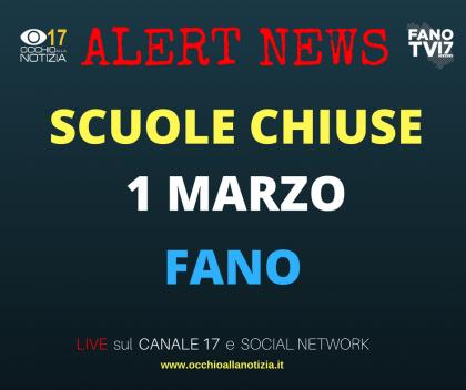+++ SCUOLE CHIUSE A FANO IL 1 MARZO +++ (FANO TV)