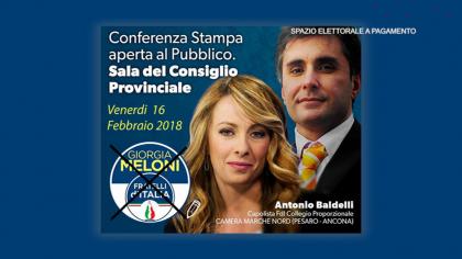 Antonio Baldelli – Conferenza stampa aperta al pubblico – Fratelli d'Italia (16 febbraio 2018)