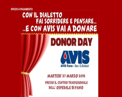 Donor Day AVIS Fano – con il dialetto (27 marzo 2018) – VIDEO