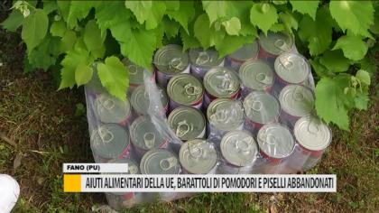 Aiuti alimentari della UE, barattoli di pomodori e piselli abbandonati – VIDEO