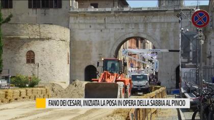 Fano dei Cesari, iniziata la posa in opera della sabbia al Pincio – VIDEO