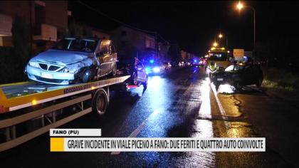Grave incidente in viale Piceno a Fano: due feriti e quattro auto coinvolte – VIDEO